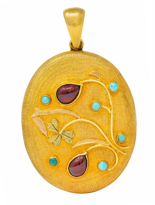 Large Victorian Garnet Turquoise 18 Karat Tri-Colored Gold Floral Locket Pendant - Wilson's Estate Jewelry