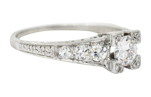 Art Deco 0.78 CTW Diamond Platinum Engagement Ring