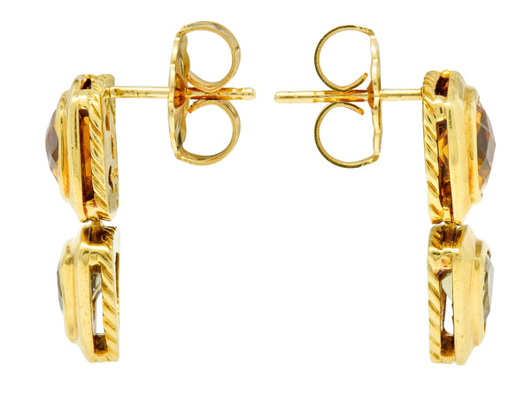 David Yurman Citrine Prasiolite 18 Karat Gold Articulated Drop Earrings