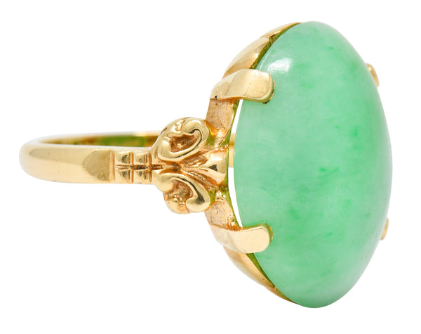 Jade 14 Karat Yellow Gold Cabochon Ring Circa 1950's