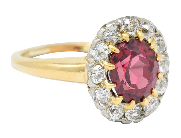 Edwardian Rhodolite Garnet Diamond Platinum-Topped 14 Karat Gold Cluster Ring
