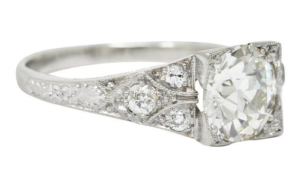 Art Deco 2.31 CTW Diamond Platinum Square Form Engagement Ring GIA