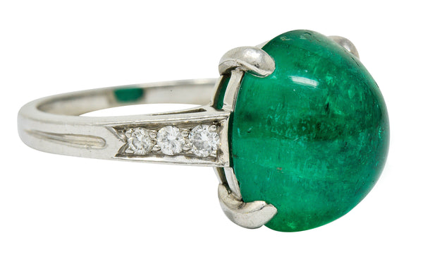 Tiffany & Co. Retro 7.15 CTW Colombian Emerald Diamond Platinum Statement Ring AGL
