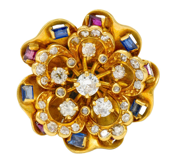 Retro 2.45 CTW Diamond Sapphire Ruby 18 Karat Gold Cluster Flower Brooch