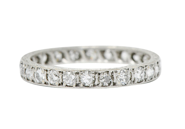 Art Deco 0.72 CTW Diamond Platinum Eternity Band Ring