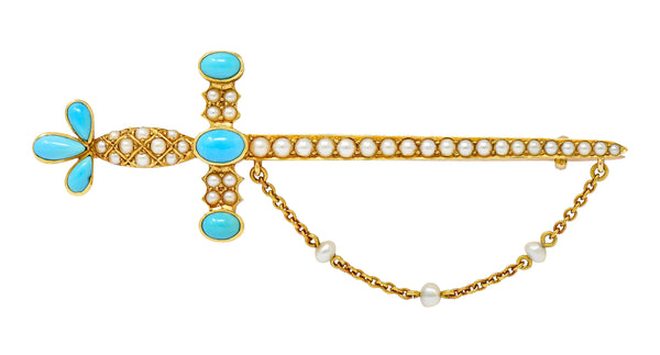 Victorian Natural Freshwater Pearl Turquoise 18 Karat Gold Sword Brooch Circa 1890