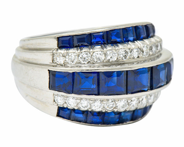 1950's Mid-Century 3.90 CTW Sapphire Diamond Platinum Band Ring
