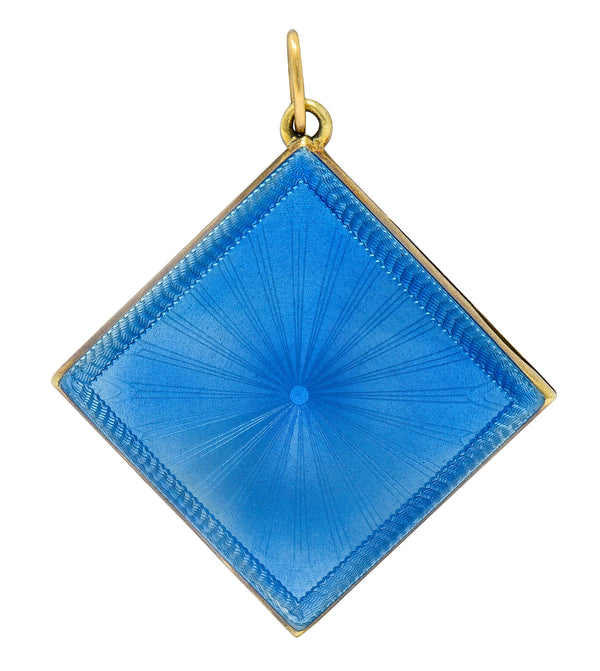 Art Deco Blue Enamel 14 Karat Gold Square Locket Pendant Charm