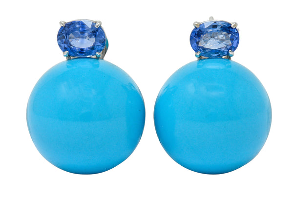 Sabbadini Vintage Turquoise Sapphire 18 Karat White Gold Ball Earrings - Wilson's Estate Jewelry