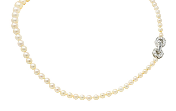 1950's Mid-Century 1.08 CTW Diamond Pearl Platinum Strand Necklace