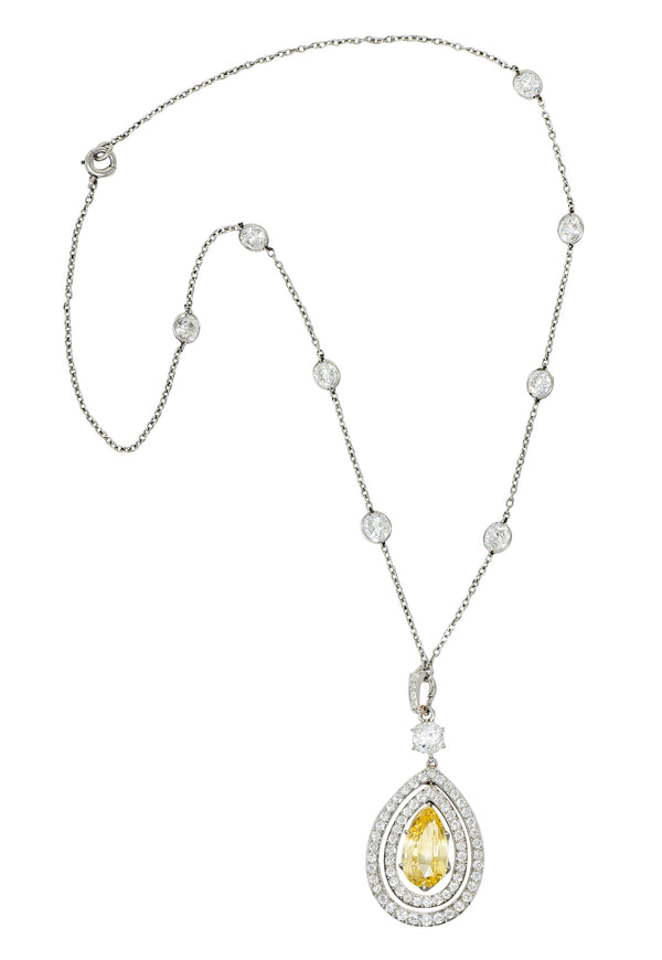 Belle Epoque 16.20 CTW Diamond Sapphire Platinum Pear Drop Enhancer Necklace