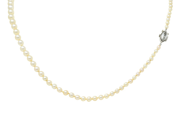 Vintage Marquise Diamond Platinum Graduated Pearl Strand Necklace - Wilson's Estate Jewelry