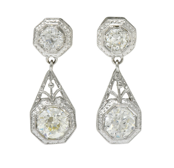 Art Deco 2.96 CTW Diamond Platinum Octagonal Drop Earrings