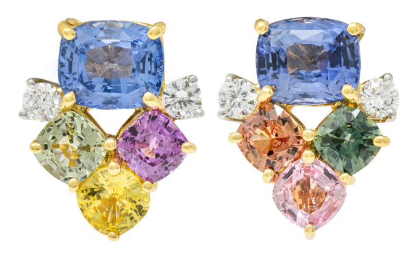 1990's 15.63 CTW Multi-Sapphire Diamond 18 Karat Gold Platinum Cluster Earrings GRS