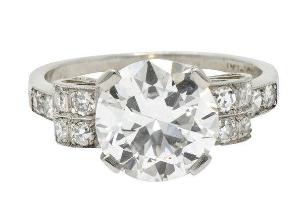 Art Deco 2.68 CTW Diamond Platinum Sunburst Engagement Ring GIA