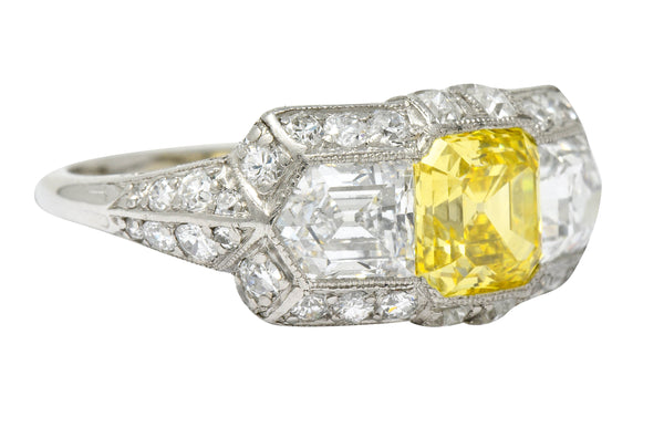 Tiffany & Co. Late Art Deco Fancy Vivid Yellow Diamond Platinum Cocktail Ring GIA