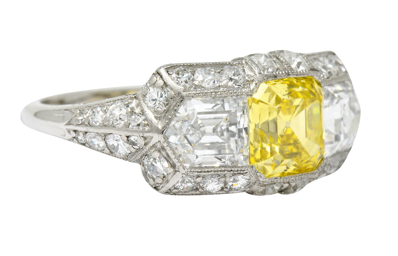Tiffany & Co. Late Art Deco Fancy Vivid Yellow Diamond Platinum Cocktail Ring GIA - Wilson's Estate Jewelry