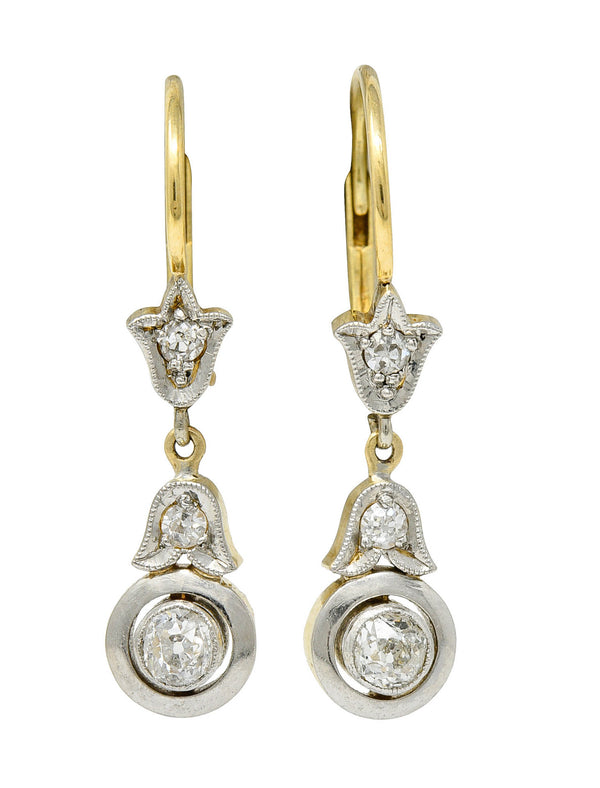 Edwardian 0.45 CTW Diamond Platinum-Topped 14 Karat Gold Tulip Drop Earrings