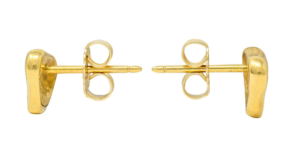 Elsa Peretti Tiffany & Co. 18 Karat Gold Full Heart Stud Earrings