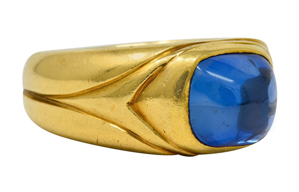 Antique Tiffany & Co. No Heat Kashmir Sapphire Cabochon 18 Karat Gold Unisex Band Ring AGL - Wilson's Estate Jewelry