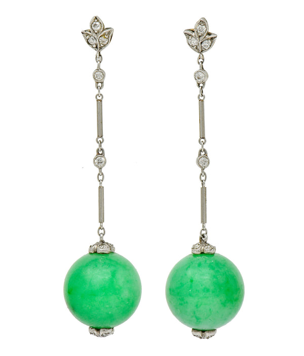 1930's Art Deco Jade Ball Diamond Platinum 14 Karat Gold Drop Earrings