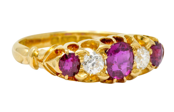 Victorian Ruby Diamond 18 Karat Gold Five Stone Ring