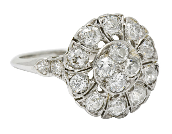 Art Deco Diamond Platinum Radiating Cluster Ring