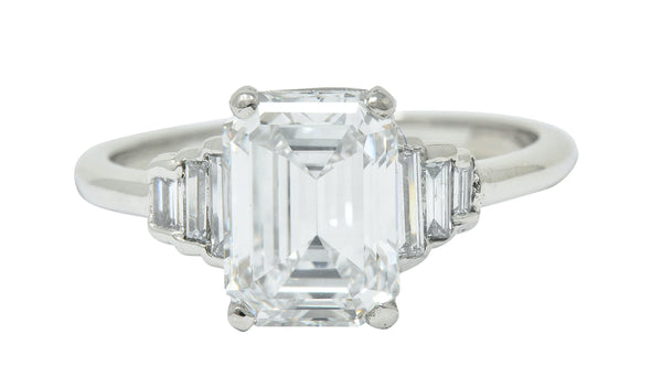 Contemporary 2.20 CTW Emerald Cut Diamond Platinum Engagement Ring GIA