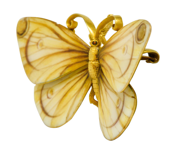 Antique Tiffany & Co. Paulding Farnham Victorian Enamel 18 Karat Gold Butterfly Brooch