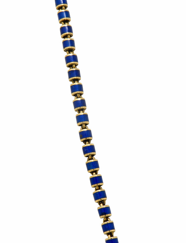 Victorian Blue Enamel 14 Karat Gold 56 Inch Long Chain Necklace Circa 1900