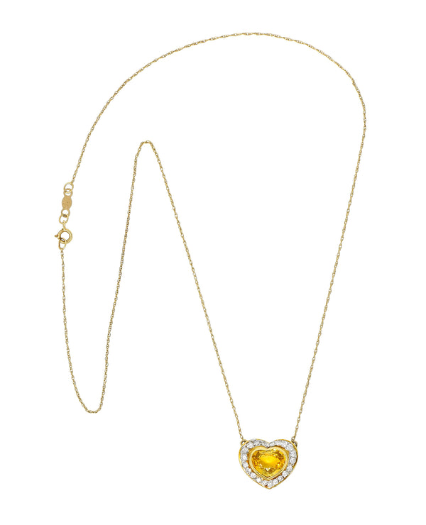 Vintage 2.00 CTW Yellow Sapphire Diamond 14 Karat Two-Tone Gold Heart Necklace