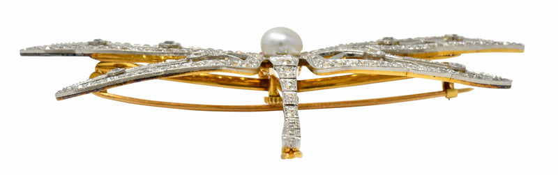 Substantial Edwardian Spinel Pearl Diamond Platinum 18 Karat Gold Dragonfly Brooch