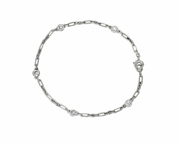 Art Deco 0.65 CTW Diamond Platinum Diamond By The Yard Bracelet