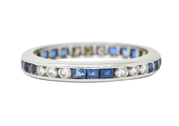Vintage 1.00 CTW Sapphire Diamond Platinum Eternity Band Ring