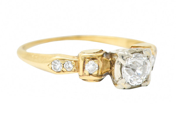 1940's Retro 0.50 CTW Diamond 14 Karat Two-Tone Gold Engagement Ring