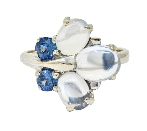 1940's Retro Sapphire Moonstone 14 Karat White Gold Floral Cluster Ring