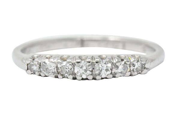 Art Deco Diamond Platinum Fishtail Anniversary Band Ring