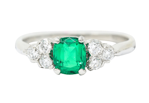 1950's Shreve Crump & Low 0.83 CTW Emerald Diamond Platinum Ring