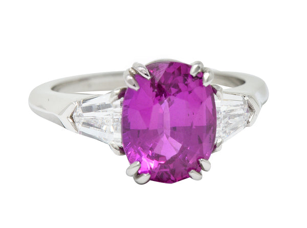 Classic 4.11 CTW Pink Sapphire Diamond Platinum Three Stone Ring AGL