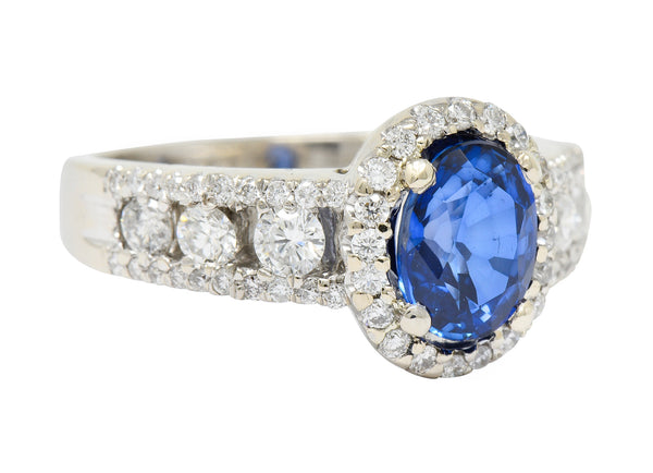 Contemporary 2.31 CTW Sapphire Diamond 18 Karat White Gold Halo Ring