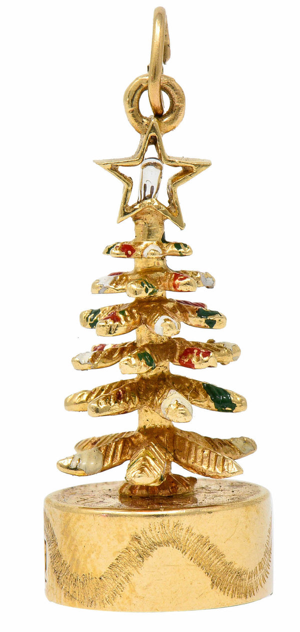 1960's Litacharm Inc. Vintage 14 Karat Gold Christmas Tree Charm
