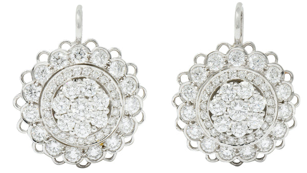 Dazzling 2.50 CTW Diamond Platinum Floral Cluster Drop Earrings