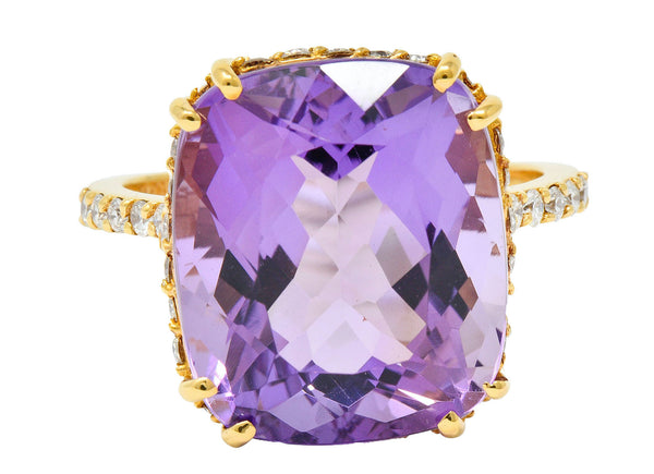 Amethyst Diamond 20 Karat Rose Gold Cocktail Ring