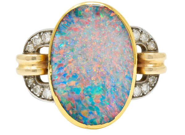 Retro Black Opal Diamond 14 Karat Gold Platinum Buckle Ring