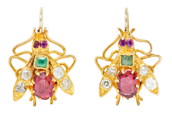 Victorian Spinel Diamond Emerald 18 Karat Gold Insect Earrings