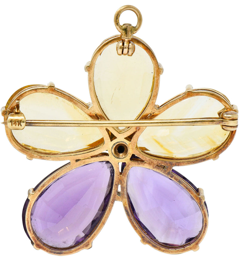 Art Nouveau Citrine Amethyst 14 Karat Rose Gold Flower Pendant Brooch