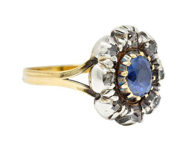 1800 Georgian 1.30 CTW Sapphire Diamond Silver-Topped 14 Karat Gold Floral Cluster Ring