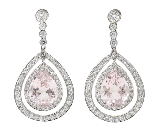 Modern Morganite Diamond Platinum Drop Earrings