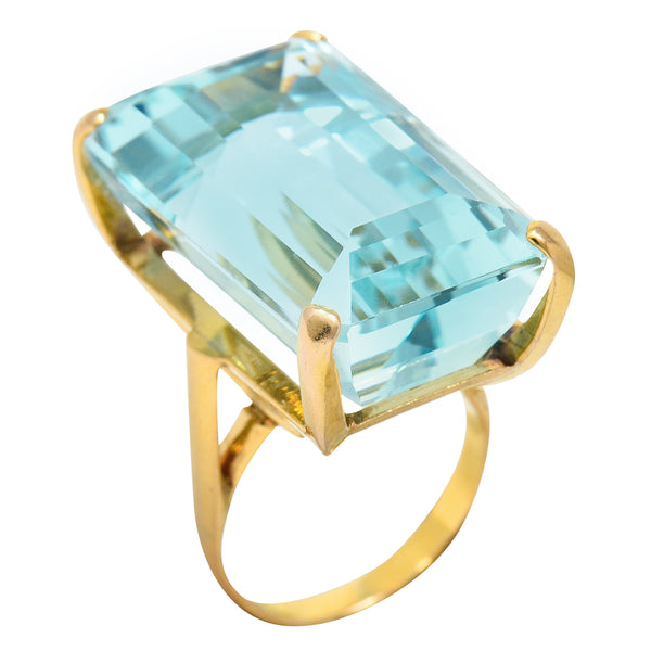 1960's Vintage 31.18 CTW Aquamarine 14 Karat Gold Statement Ring