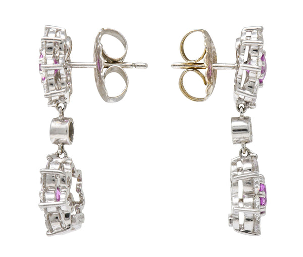 Modern 4.05 CTW Diamond Pink Sapphire Platinum Floral Cluster Earrings